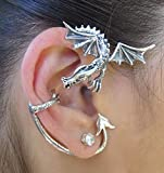 Dragon Ear Cuff Dragon Ear Wrap Game of Thrones Inspired Guardian Dragon Ear Wrap Sterling Silver Non Pierced Earring Dragon Jewelry Fashion