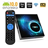 TV Box, T95 Android 10.0 TV Box 2GB RAM 16GB ROM 6K Ultra HD, AllWinner H616 64bit Support 3D USB HDMI H.265 2.4/5GHz Dual WiFi Ethernet Smart Android Box