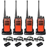 Retevis RT66 Walkie Talkies Long Range for Adults,Durable Two Way Radios with Earpieces,Handheld 2 Way Radio with USB Charger Base,for School Church Business Construction(Orange,4 Pack)