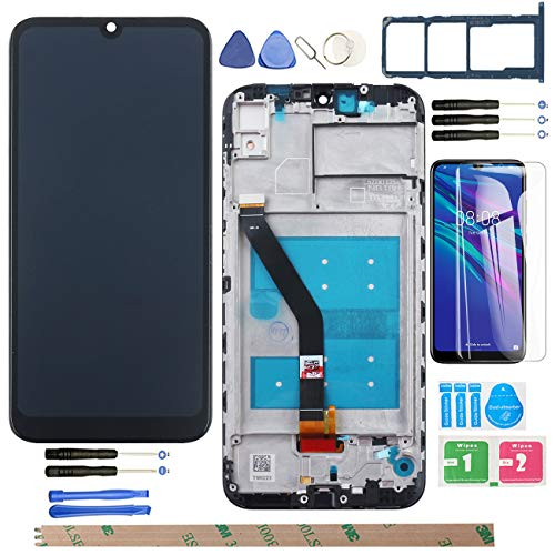 """YHX-OU 6.09\"""" per Huawei Honor 8A Honor Play 8A LCD Display di Riparazione e Sostituzione LCD Display Touch Screen Digitizer con Utensili Inclusi+1 Pezzo Vetro temperat + 1 SIM Card Tray(Nero+Telaio)"""