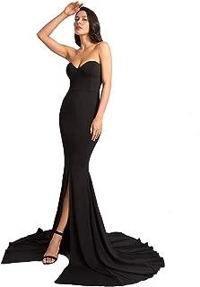 Formal Strapless Evening Dress Long Prom Gown Front Split Full Length Wedding Maxi Dress
