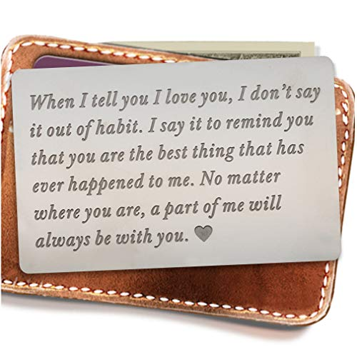 Engraved wallet insert,Stainless steel Wallet Card Insert,Engraved love message,Valentine's Day, Groom's Gift...