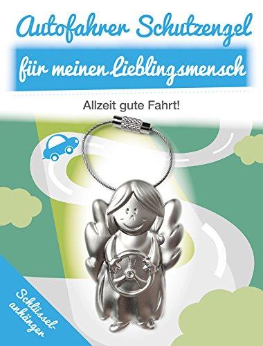 Auto Schlüsselanhänger Schutzengel - Mit Lenkrad für Autofahrer - Art & Emotions - Schutzengel Schlüsselanhänger aus Metall - Geschenkidee für Ihren Lieblingsmenschen - Glücksbringer für Ihre Liebsten