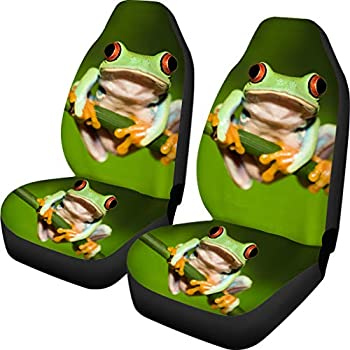 Upetstory Unique Car Seat Covers Front Seat Only 2 pcs Set Soft Comfortable Driver Seat Cover Protector Fit Most Car Funny Frog