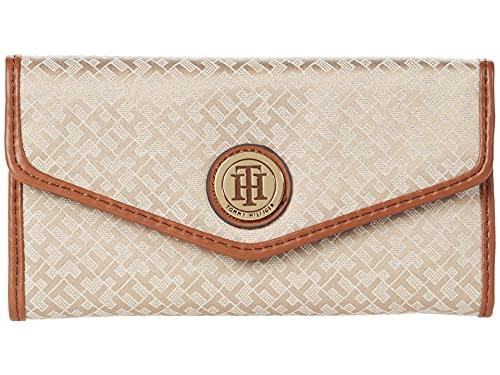 Tommy Hilfiger Large-Continental Envelope Wallet-Mini Geometric Jacquard Khaki Tonal/Cognac One Size