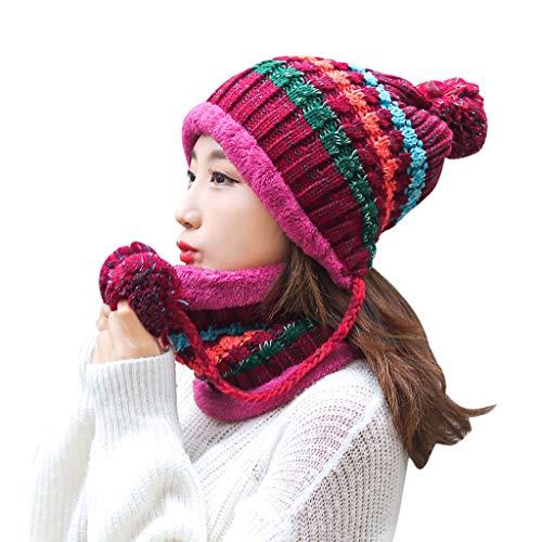 Shinehua dames muts sjaal set met fleece voering warm gebreide beanie muts loop sjaal pompon muts wintermuts wintersjaal gebreide sjaal outdoor skiën snowboard fiets winter set