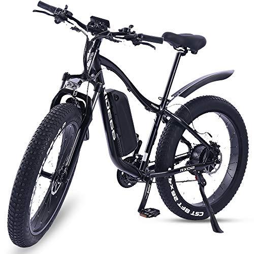 Huiuk Elektrofahrrad 26Zoll Zoll E- Bike Fat Tire Mountainbike 48V 8Ah Lithium-Akku Mit 1000W Motor Und 21 Gang Gangschaltung Electric Bicycle Für Männer Frauen Erwachsene,Schwarz