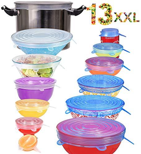 longzon 13 piezas Tapas de Silicona Reutilizables Ecológicas, Tapas Ecológicas Reutilizables, 7 Tamaños (hasta XXL) de Tapas Silicona Ajustables Sin BPA para Lavavajillas, Refrigerador - Redondos