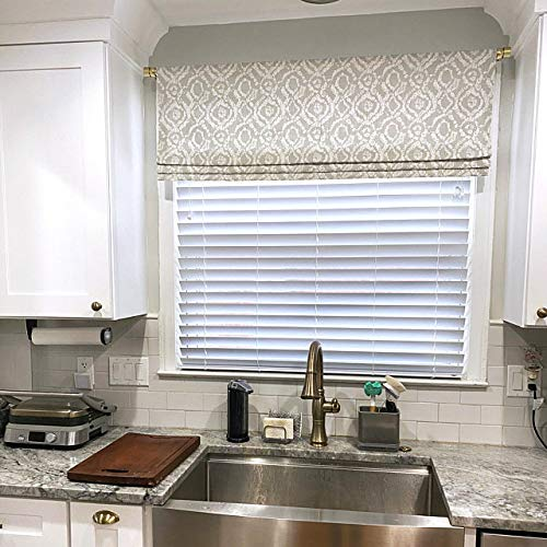 Faux Roman Shade Valance Custom Made in Braylon French Grey & White Floral Lattice Print, Fully Lined, 100% Cotton