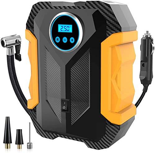 Tragbarer Luftkompressor Reifenfüller,12V DC Auto kompressor mit LED Notfalltaschenlampe, digitales LCD Bildschirm,für Autoreifen, Motorräder und andere Schlauchboote