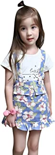 Weixinbuy Newborn Baby Girls Clothes Watermelon Print T-Shirt Tops + Floral Strap Floral Skirt Two-Piece Outfit Set