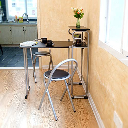 VBARV Simple Folding Dining Table and Chair Combination, The Best Choice Product Wooden Metal Kitchen countertop high Dining Table with 2 stools Free Installation