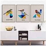 Chino abstracto colorido geometría pájaro lienzo pintura tangram animal imagen de la pared sala de estar sofá fondo decoración cartel-40x50x3 piezas cm sin marco
