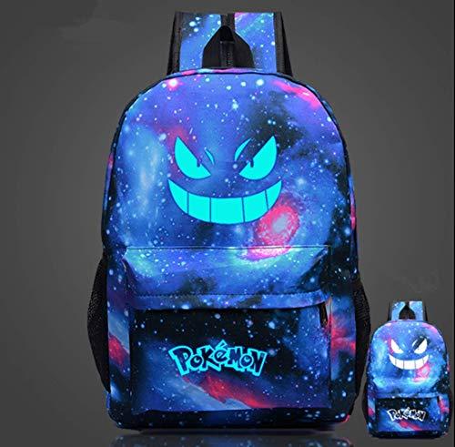 Pikachu Rucksack Leuchtend im Dunkeln, Pokemon Schultasche Kinder Rucksack für Jungen und Mädchen, Pokemon Rucksack Großer Rucksack mit Pikachu für die Schule