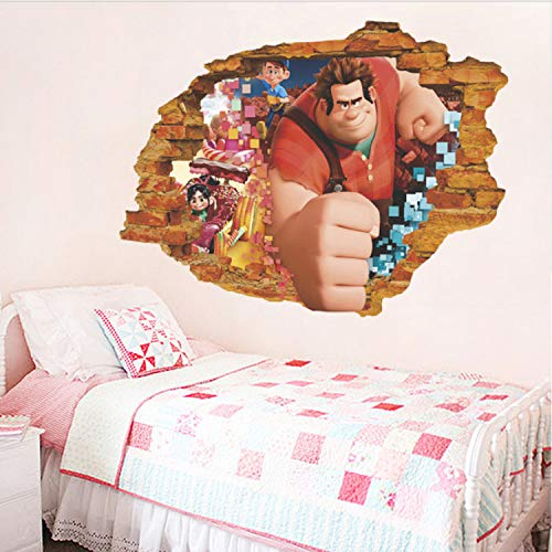 GBICjdojf Ralph Breaking Through Wall Decals Bedroom Home Decor Cartoon Ralph Breaks The Internet Wall Stickers PVC Posters 3D