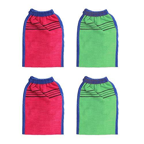 Loriver 4pcs corps gants exfoliants épaissie double face gants de douche serviette de bain