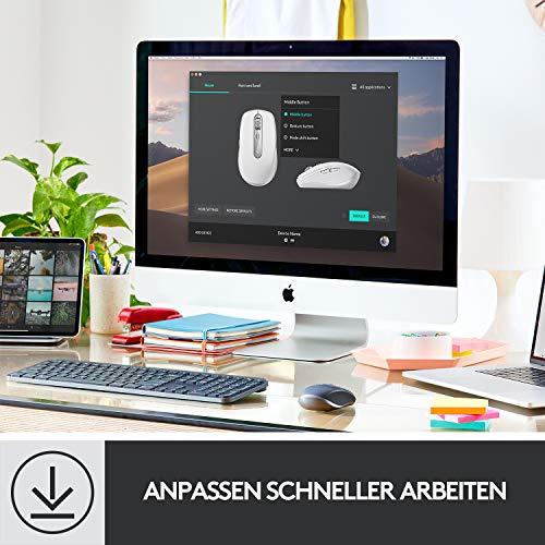Logitech MX Anywhere 3 kompakte, leistungsstarke Maus – Kabellos, Magnetisches Scrollen, ergonomisch, anpassbare Tasten, USB-C, Bluetooth, Apple Mac, iPad, Windows PC, Linux, Chrome - Grafit - 10