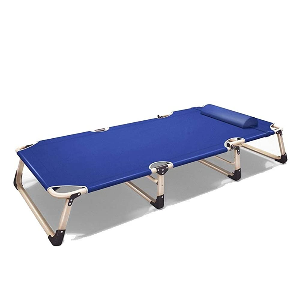 ZOUQILAI Folding Camp Bed Portable Sport Bed with Free Storage Bag, Camping Cot Outdoor Lightweight Camp, Beach Bed, Cot with Carry Bag (Color : Blue)