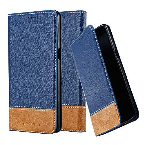 Cadorabo Hülle für OnePlus 3 / 3T - Hülle in DUNKEL BLAU BRAUN – Handyhülle mit Standfunktion & Kartenfach aus Einer Kunstlederkombi - Hülle Cover Schutzhülle Etui Tasche Book