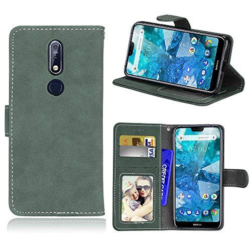 SEEYA per Nokia 7.1 Cover Libro Custodia Foglio Portafoglio in Pelle con Slot per Schede Smart Magnetica Flip Wallet Case Protezione Custodie Grigio