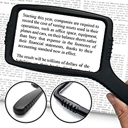 Rectangular large magnifying glass for the visually impaired