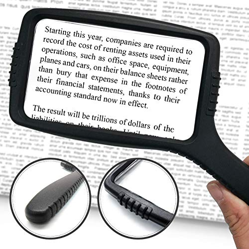 MagniPros Jumbo Size Magnifying Glass Wide Horizontal Lens(3X Magnification)- Shockproof Housing & Scratch Resistant Design W/Large Viewing Area Ideal for Reading Small Prints & Low Vision