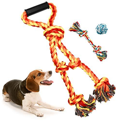 Hundespielzeug Seil für große Hunde,Kauspielzeug Spielseil mit 5 Knoten, Tau Seil Hundespielzeug unzerstörbar, Interaktives intelligenzspielzeug für Aggressive Kauen/Hund Seil Spielzeug Set (Orange)