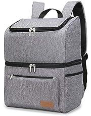 Lifewit 18 L (34-kans) dubbeldäckare mjuk kylväska ryggsäck med hårt foder, stor cool väska ryggsäck för camping/grill/familj utomhusaktiviteter, grå