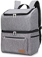 Lifewit 18L (34-Can) Double-Decker Soft Cooler Backpack with Hard Liner, Large Cool Bag Backpack for Camping/BBQ/Family...