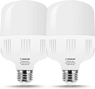 LOHAS High Watt LED Bulbs 250W-300W Equivalent, LED Bulb Soft White 3000K High Intensity Shop Light with Free E26 to E39 Converter, 3400 Lumens LED Commercial for Garage Warehouse Workshop, 2 Pack