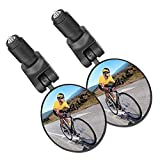 KKSJK Espejo retrovisor de Bicicleta de 2 uds para Manillar Giratorio de 360 °, Lente Gran Angular de 17,4-22mm, Espejo de Bicicleta de montaña y Carretera Ebike