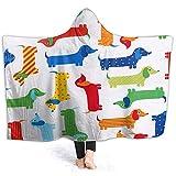 Millancty Farbstreifen Dackel mit Kapuze Decke Neuheit Sherpa Plüsch Throw Wearable 50 x 40 ''