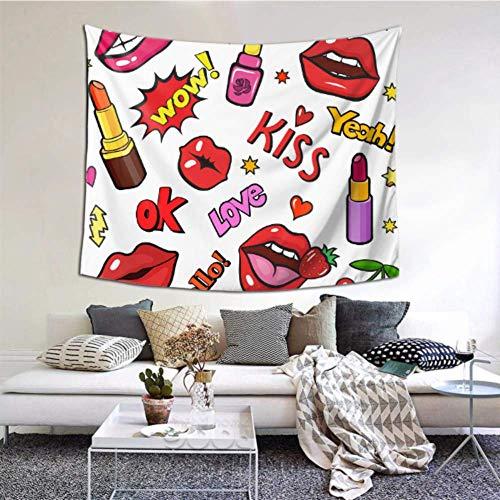 XiexHOME Küche Dekor Wand Mode Lippen Patch Mit Lippenstift Deko Wand Dekor 60x51 Zoll (152x130cm)...