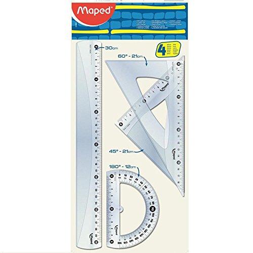Kit 4 Peças 1 Régua 30 cm/2 Esquadros 60 e 45°/1 Transf. 360 Flow Pack x 1, Maped 64, Transparente