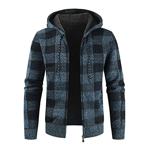 Men's Drawstring Hooded Jacket Knitwear Check Printing Color Blocking Casual Thicken Warm Outdoor Sports Casual Tops Medium Light Blue