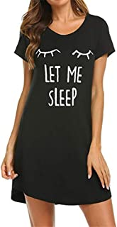 Women's Sleepwear Short Sleeve Casual Dress Loose T Shirt Dress Sleepdress