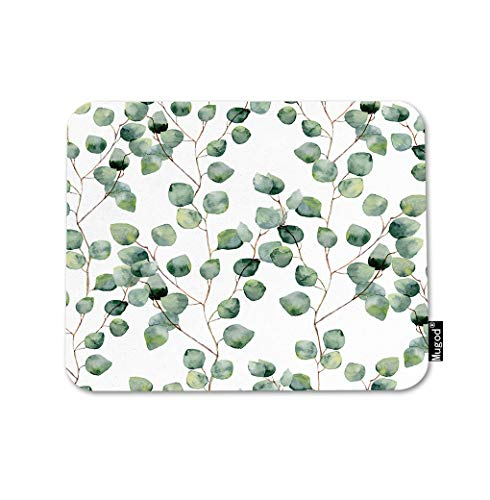 Mugod Green Floral Mouse Pad Eucalyptus Round Leaves Branches Twig Natural Plant Gaming Mouse Mat Non-Slip Rubber Base Mousepad for Computer Laptop PC Desk Office&Home Working 9.5x7.9 Inch