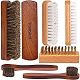 Brobery Shoe Brush with 100% Horsehair Brush, Crepe Suede Shoe Brush, Brass Suede Shoe Bru...