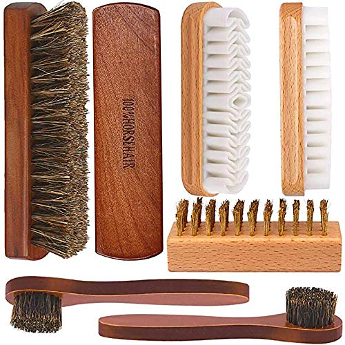 Brobery Shoe Brush with 100% Horsehair Brush, Crepe Suede Shoe Brush, Brass Suede Shoe Brush, for Shoes Boot Leather, Set of 7