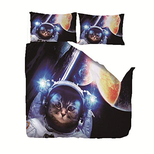 Duvet Cover Set Single(55x78.7 inch) Space animal cat Bedding Printed Ultra Soft Hypoallergenic Microfiber with Zipper Closure + 2 Pillowcases 20x29.5 inch