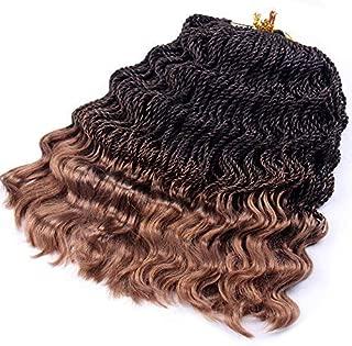 Wavy Senegalese Twist Crochet Braids 6packs/lot 14Inch 35Strands/Pack Synthetic Kanekalon Crochet Hair Curly Havana Mambo Twist Braiding Hair (14 Inch, T1B/27#)