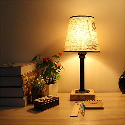 Lampe de Table Industrial Retro Art en bois Tubes d'eau Lampe de table Creative Vintage Desk Light pour salon Chambre Bar Hall Pub Bureaux Café Décoration Lampadaire de toilette, C