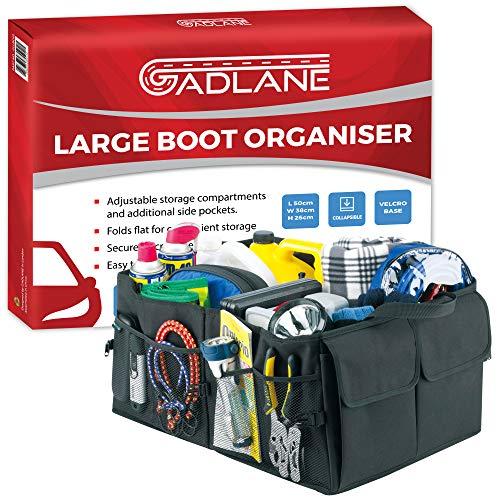 GADLANE Groß Kofferraum Organizer Auto Kofferraum Kiste Robuster Faltbare Einkaufstasche Werkzeug Halter - Schwarz - 50 cm x 38 cm x 26 cm