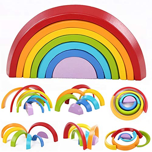 king do way Lernspielzeug Bausteine, Holzregenbogen zum Lernen, Puzzle Spielzeug Geometrie Steine (Regenbogen)