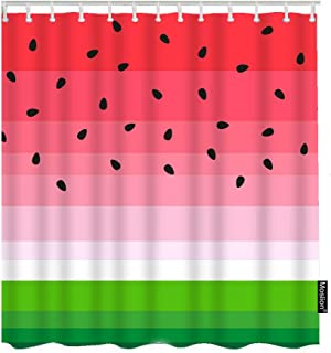 Moslion Watermelons Shower Curtains Summer Fruit Watermelon Slice Black Seeds Red Green Stripes Bathroom Shower Curtain Set Home Decorative Waterproof Polyester Fabric with Hooks 72x72 Inch
