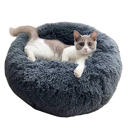 DanceWhale Rund Hundebett Flauschig Katzenbett Waschbar Hundekissen Weiches Plüsch Donut Haustierbett für Katzen Hunde (Kleine, Dunkelgrau)