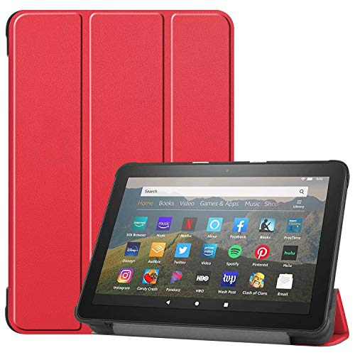 HoYiXi Custodia per All-new Fire HD 8 Plus 2020 / Fire HD 8 2020 Ultra Sottile Case in pelle Cover con Supporto Funzione Custodia di Tablet per Amazon Fire HD 8 Plus/Fire HD 8 2020 - rosso