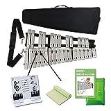 EdisonBrain 卓上鉄琴 折りたたみ式 グロッケン 30音 音階付き鍵盤 マレット 収納袋付属(すぐ始められる3点セット)
