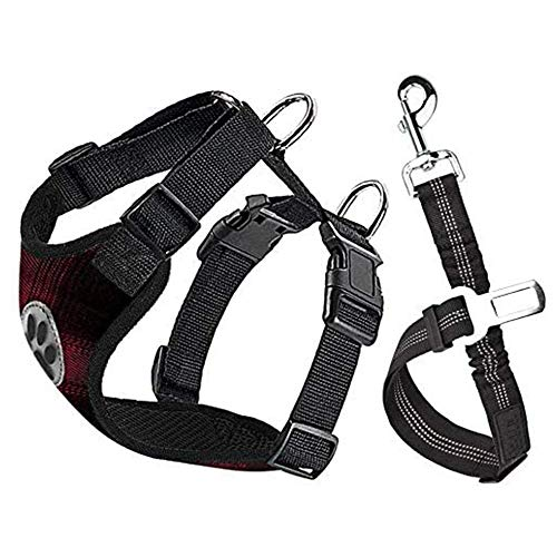 Nasjac Hundegeschirr mit Sicherheitsgurt Double luftdurchlässiges Latex-Gittergewebe Geschirr reguläre Reisenweste Autosicherheitsgurt für alle alltäglichen und sportlichen (XXXS, Rote Leinwand)