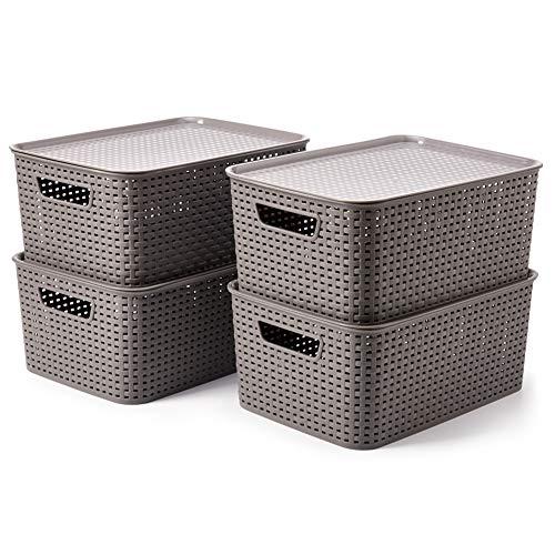 EZOWare 4 pcs Cestas de Almacenaje Multiuso con Tapas, Cajas Organizadoras de Plástico Apilable con Efecto de Mimbre y Asas para Cocina, Baño - Gris / 39 x 27 x 17 cm